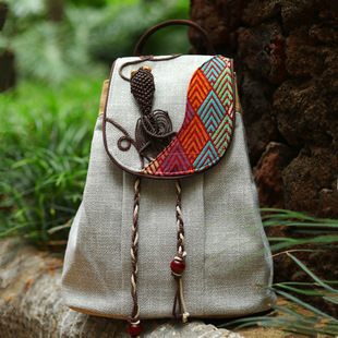 New retro ethnic style cotton and linen backpack hand-woven accessories striped drawstring backpack large-capacity travel bag