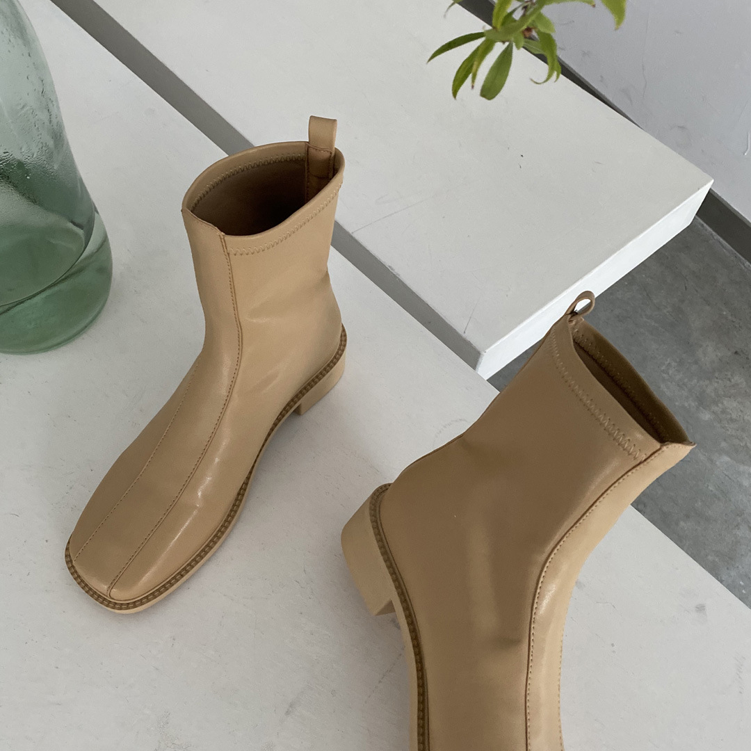 Hot selling fashion mid-tube boots soft leather square toe flat short boots  NHCA258837