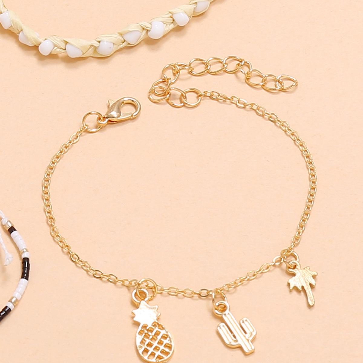 Fashion handwoven beaded cactus pineapple coconut tree hollow shell bracelet 4 piece set NHPV243685