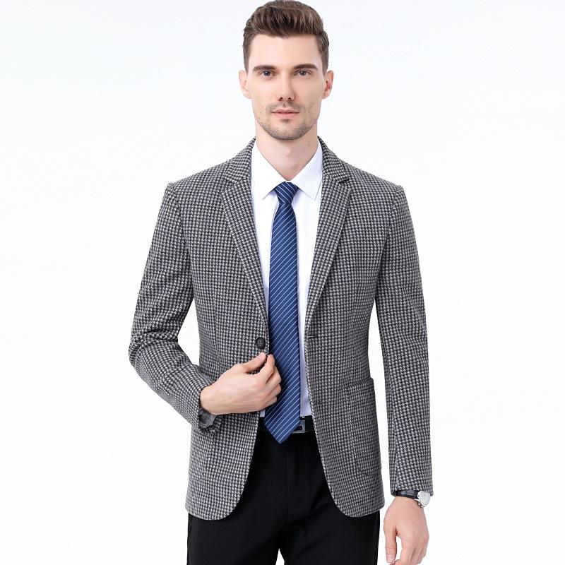 春秋季休闲西装男外套修身羊毛呢男士小西服套装商务帅气中年爸爸