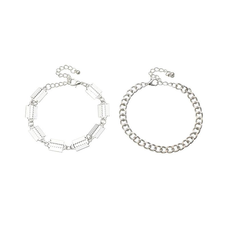 Fashion jewelry alloy bracelet for women silver thick chain jewelry simple geometric bracelet set wholesale nihaojewelry NHNZ238221