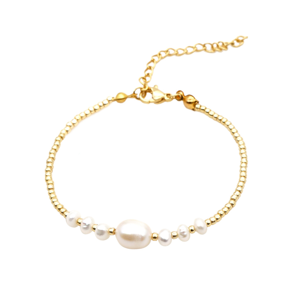fashion new baroque natural freshwater pearl golden rice beads bracelet for women handmade jewelry NHGW263877