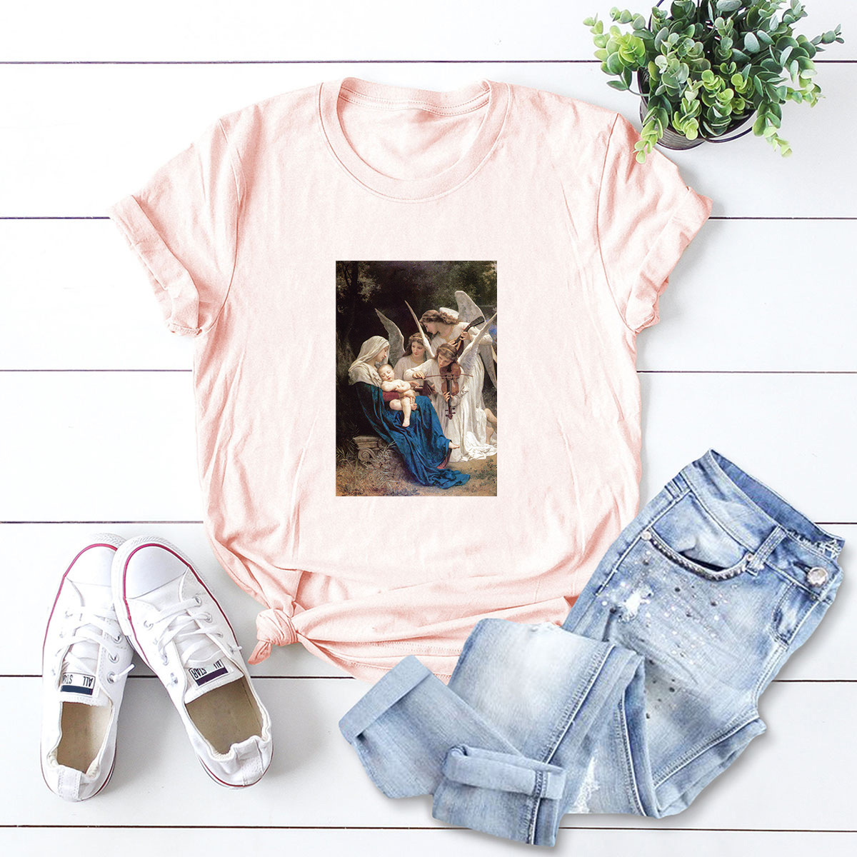 casual letters printed short-sleeved women's T-shirt NSSN1801