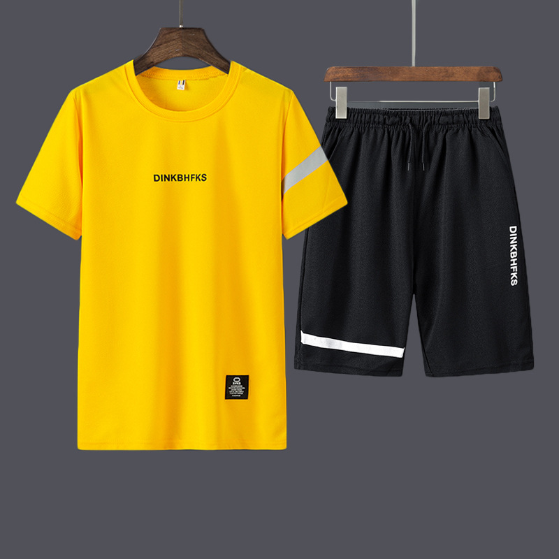 Foreign trade cross border running volume special price leisure sports suit men's slim fitting round neck T-shirt and shorts men's two-piece set