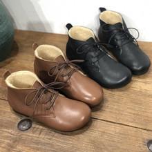 文艺手工真皮棉鞋20冬季新款羊混绒圆头平跟保暖系带牛皮毛毛女靴