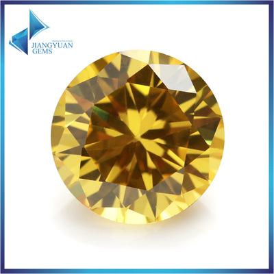 货源1-3mm金色圆形锆石 人造宝石氧化立方锆石 珠宝配饰裸石批发