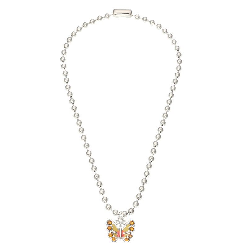 Fashion Yellow Dripping Butterfly And Diamond Bead Alloy Necklace
