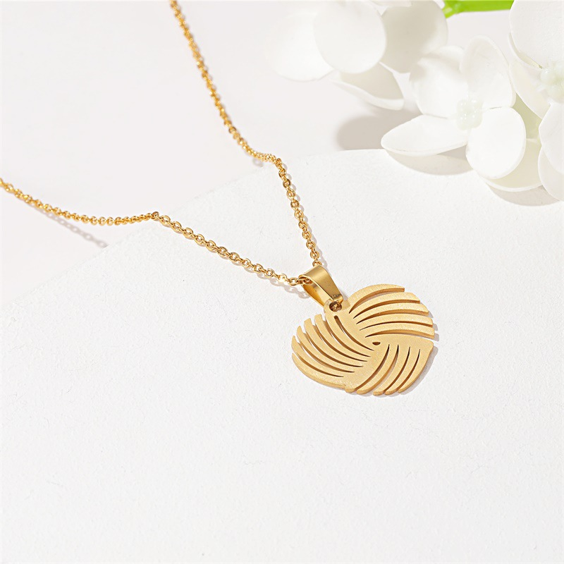 Fashion two-piece jewelry simple windmill love stainless steel necklace hollow earrings set wholesale NHDP210751