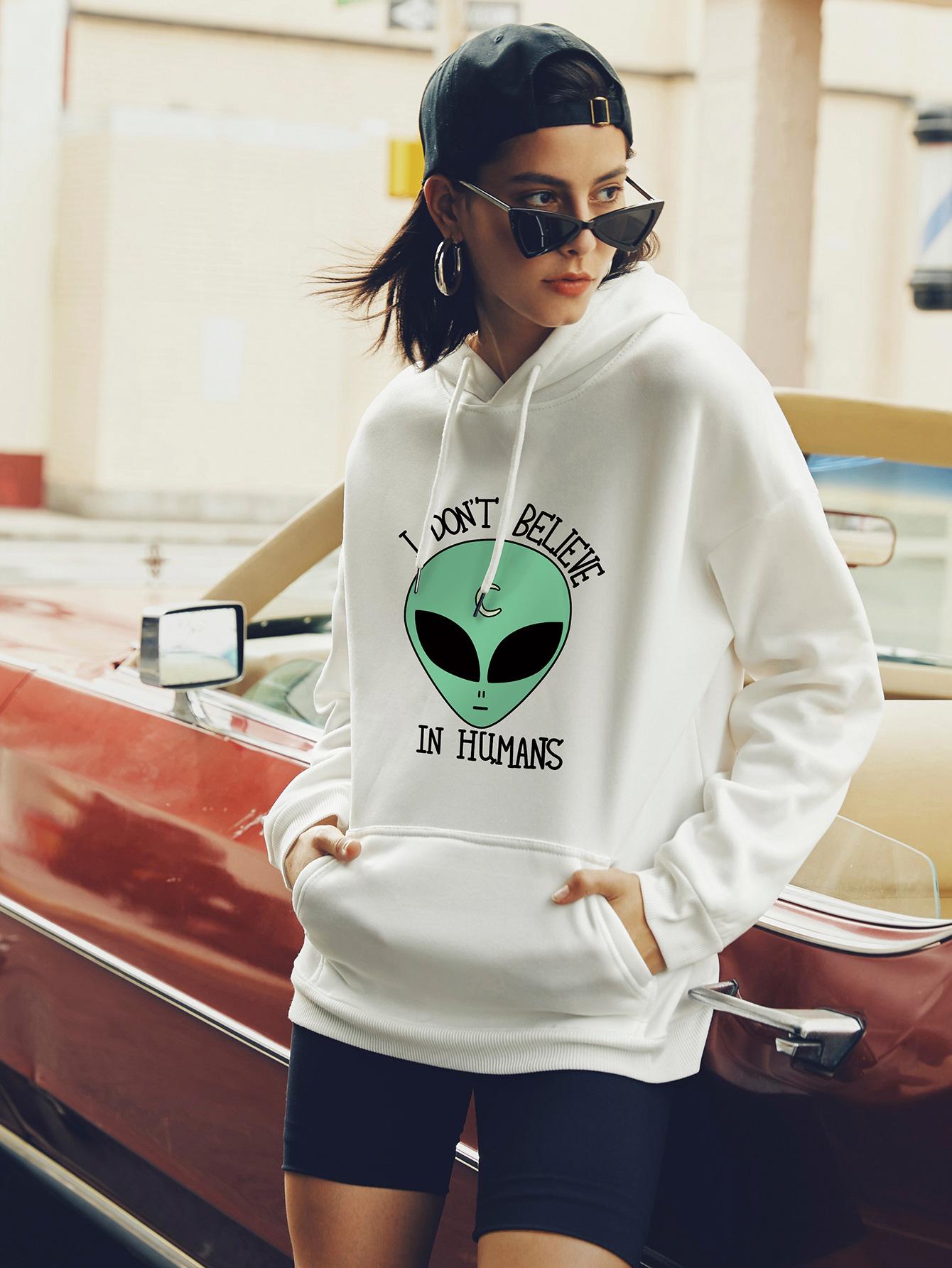 autumn and winter women's hooded sweater alien street casual NSSN373
