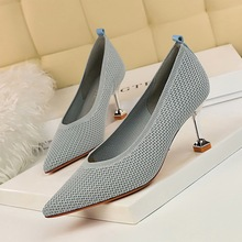 738-1 Korean fashion simple high-heeled wool knitting shallow pointed point trend versatile women's high-heeled shoes single shoes