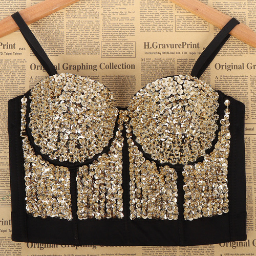 Women's Diamond bling jazz dance bra tops Bar stage chest wrapped Sequin show dress shaping corset chest pad suspender vest female fashion