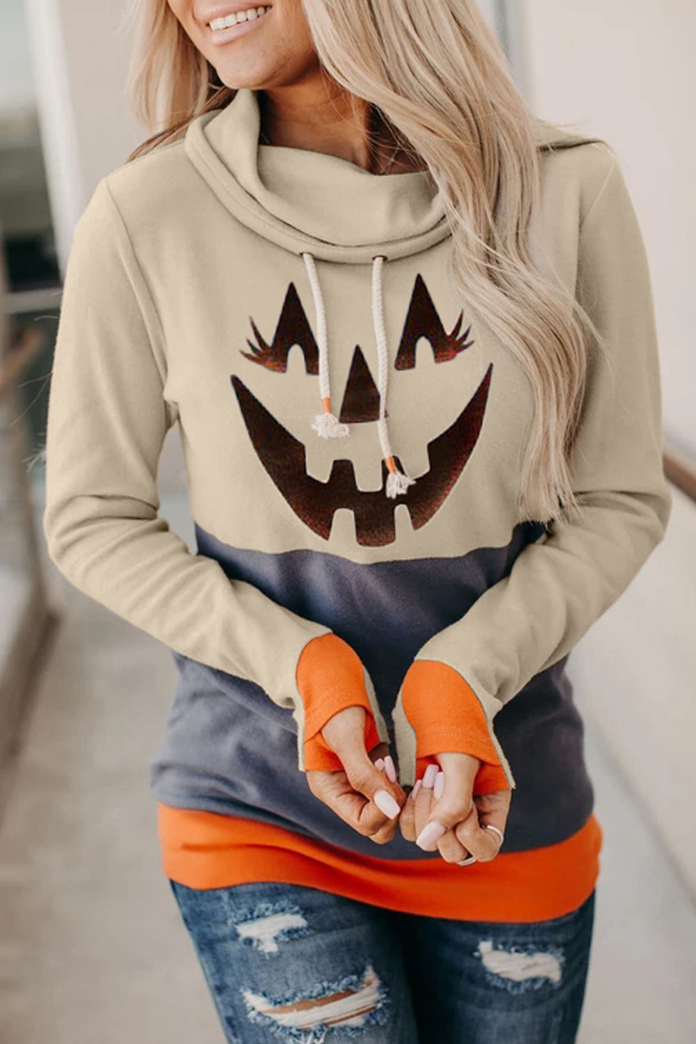 long-sleeved Halloween cartoon pattern contrast high-neck pullover women's sweater NSSI2345