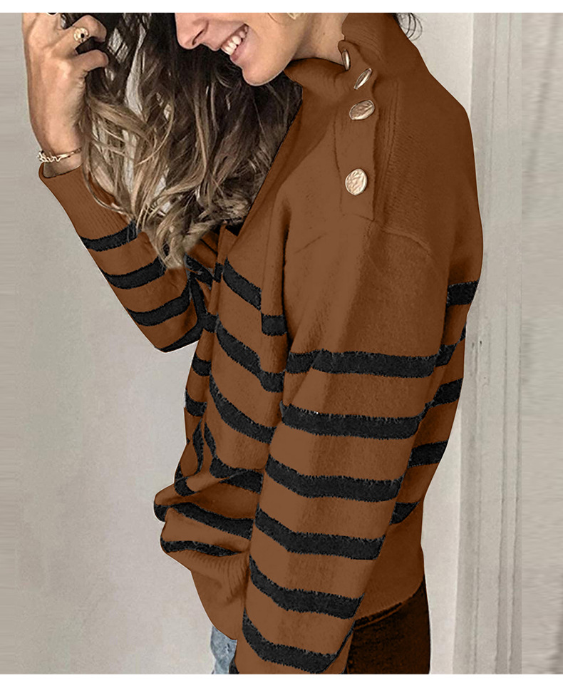 striped button decoration long-sleeved high-neck pullover sweater NSSI2969