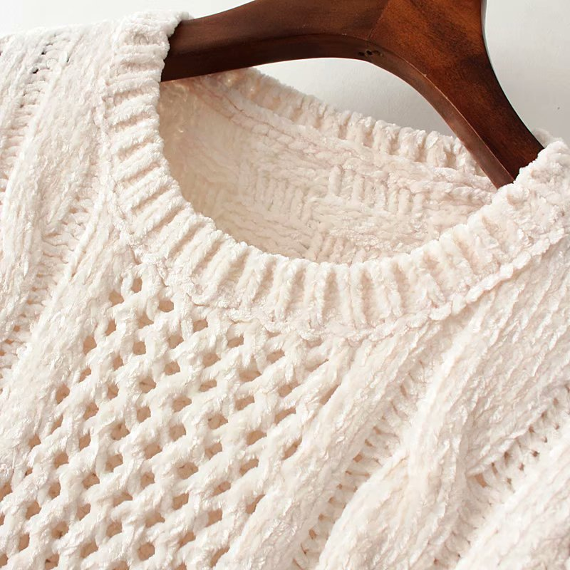 Wholesale Spring Round Neck Long Sleeve Loose Twist Texture Hollow Decorative Pullover Sweater NHAM201520