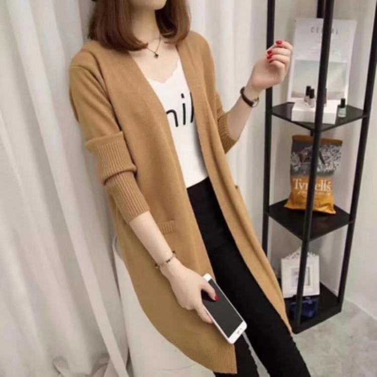 2020新款女装秋季百搭中长款针织衫开衫宽松显瘦加厚毛衣外套女