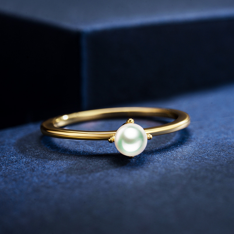 Korean simple plated gold glossy pearl casual ring wholesale NHLJ256186