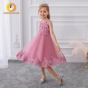 2021 Amazon European and American embroidery flower girl wedding dress princess dress puffy dress catwalk show big child dress