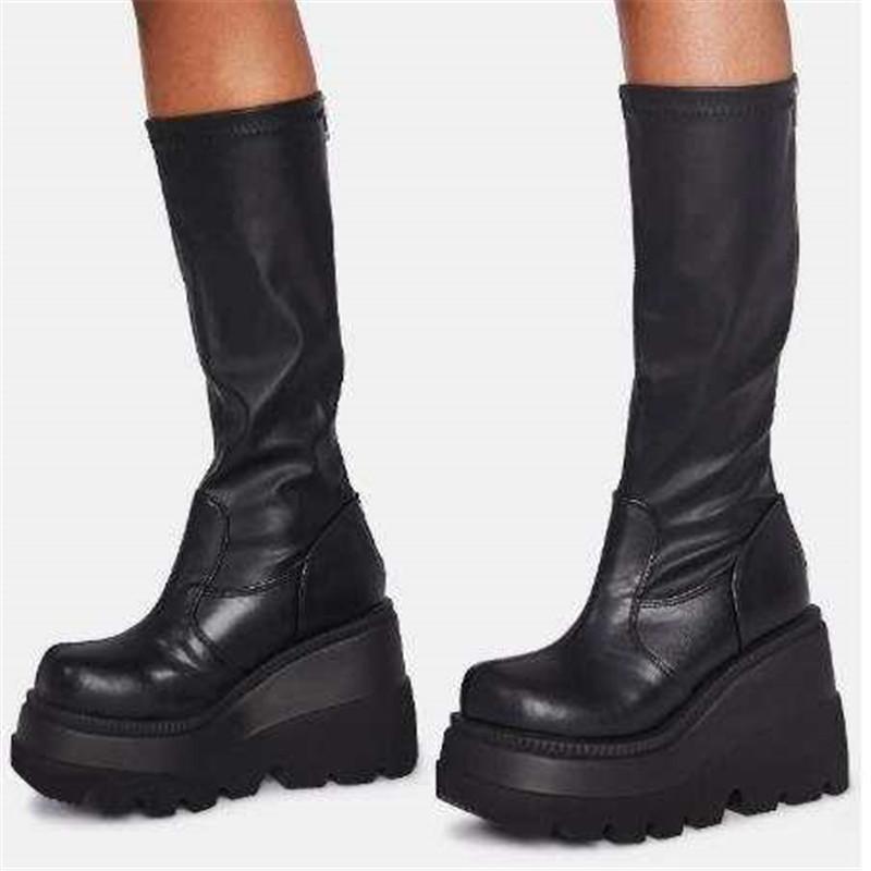 现货欧美厚底大码长靴女秋季新款松糕底皮靴速卖通wish女靴