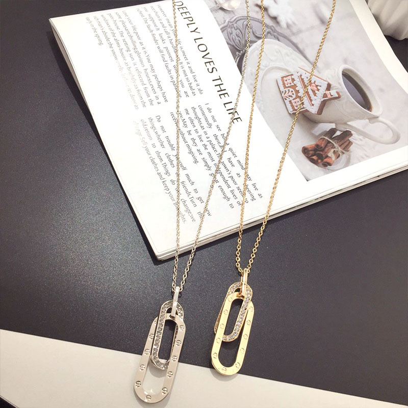 Korean new fashion crystal paper clip wild exquisite clavicle chain NHFT243167