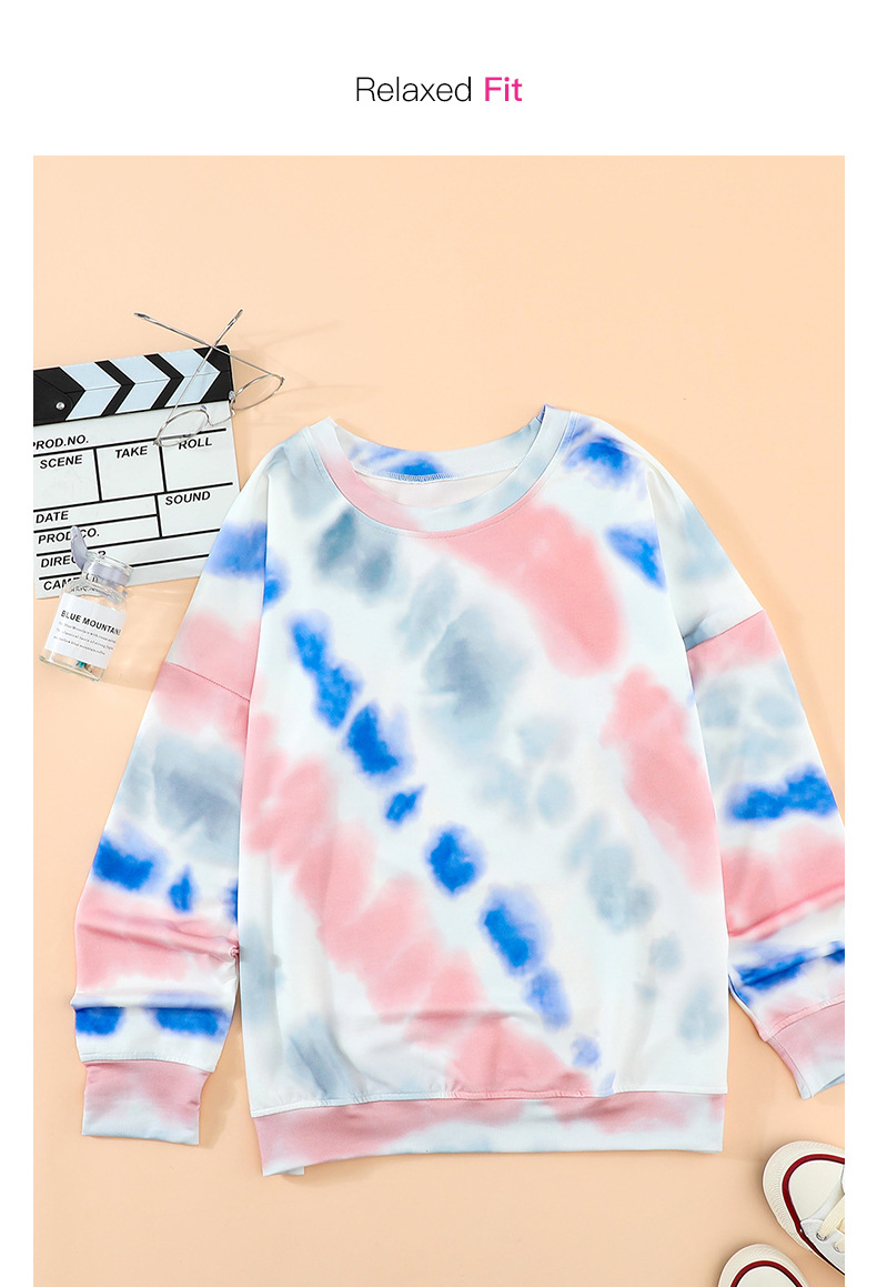 tie-dye women autumn new long-sleeved street style round neck pullover sweater  NSSI2390