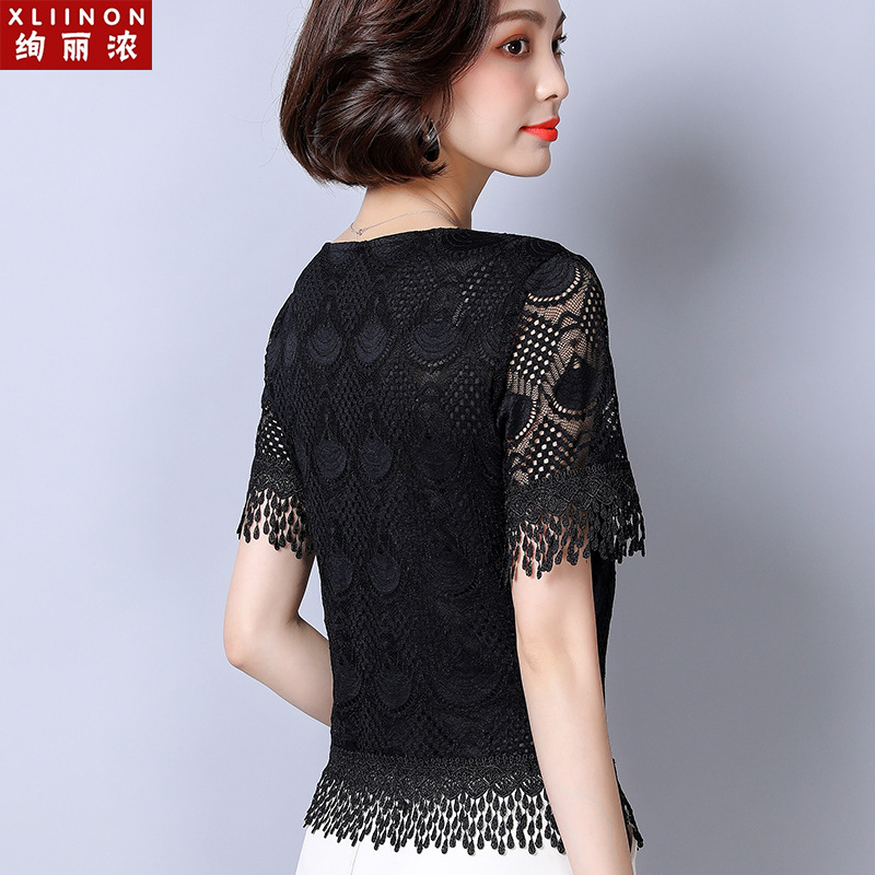 蕾丝短袖女夏2020新款镂空黑色雪纺衫小衫流苏短款半袖雷丝上衣仙