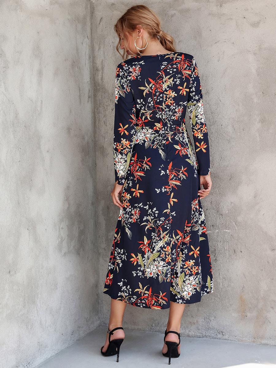 ladies V-neck printed long-sleeved dress NSAL2596