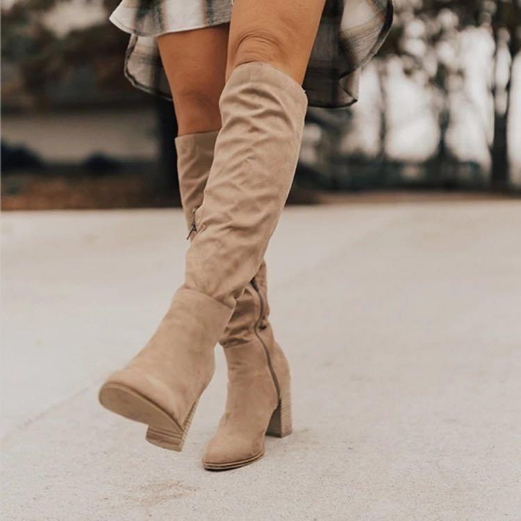 马丁靴女鞋2020秋冬新款欧美绒面显瘦女靴粗高跟侧拉链过膝长靴女