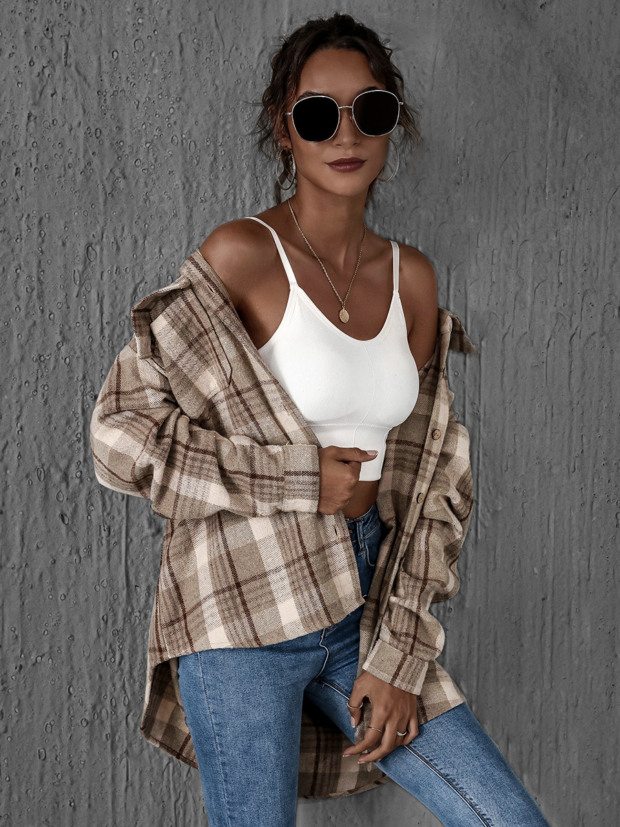 single-breasted long-sleeved cotton lapel shirt cardigan NSAL2599