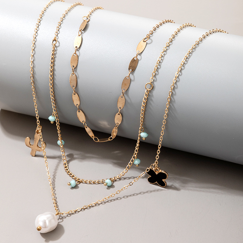 creative retro simple alloy cactus flower pearl multilayer necklace  NHGY269556