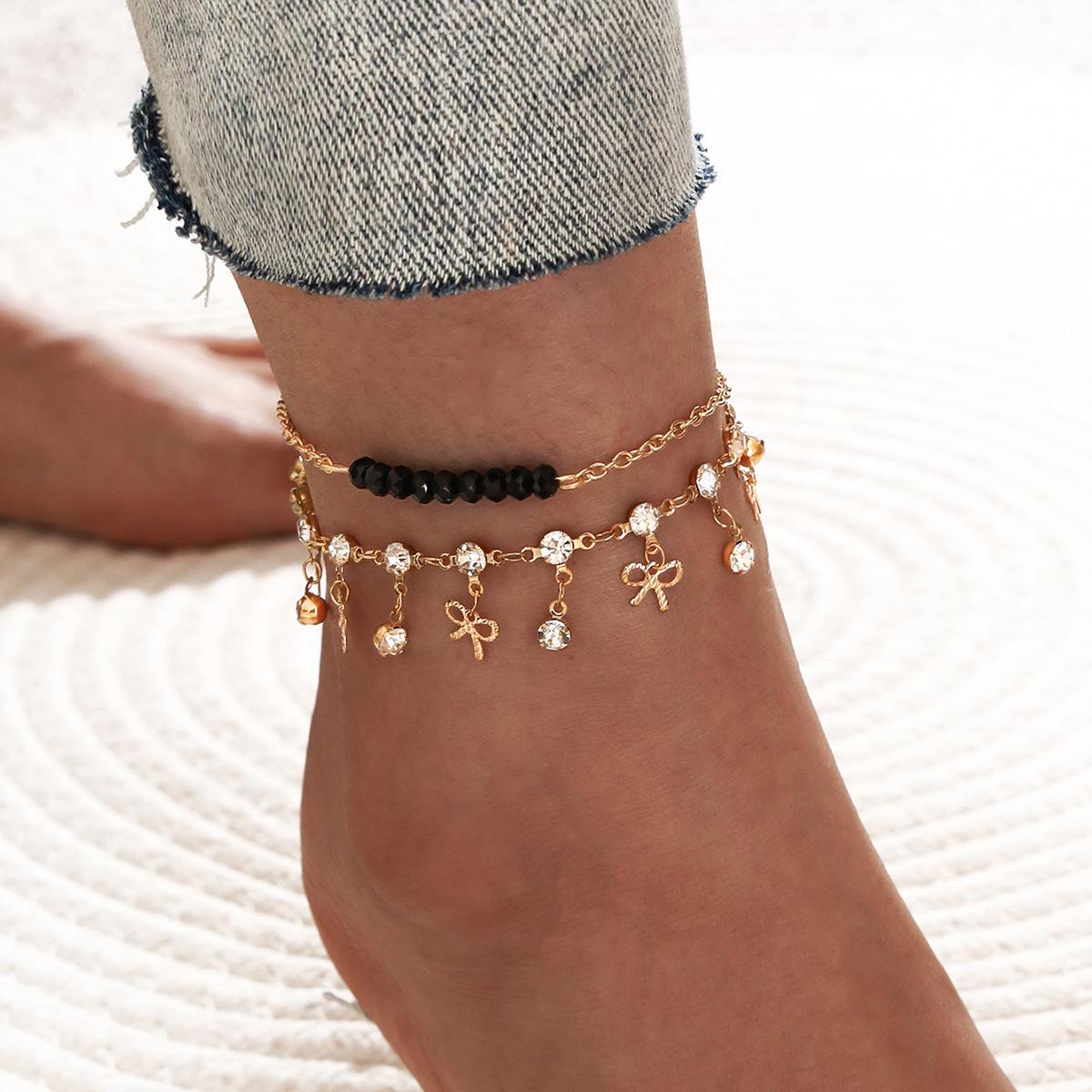 new hand-stranded black beads artificial diamond rhinestone bowknot tassel alloy anklet 2-piece set NHPV243730