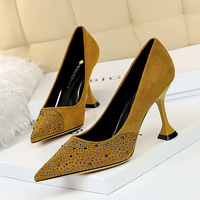 282-5 in Europe and the sexy nightclub show thin heels with suede shallow mouth cat pointed high-heeled party diamond single shoes