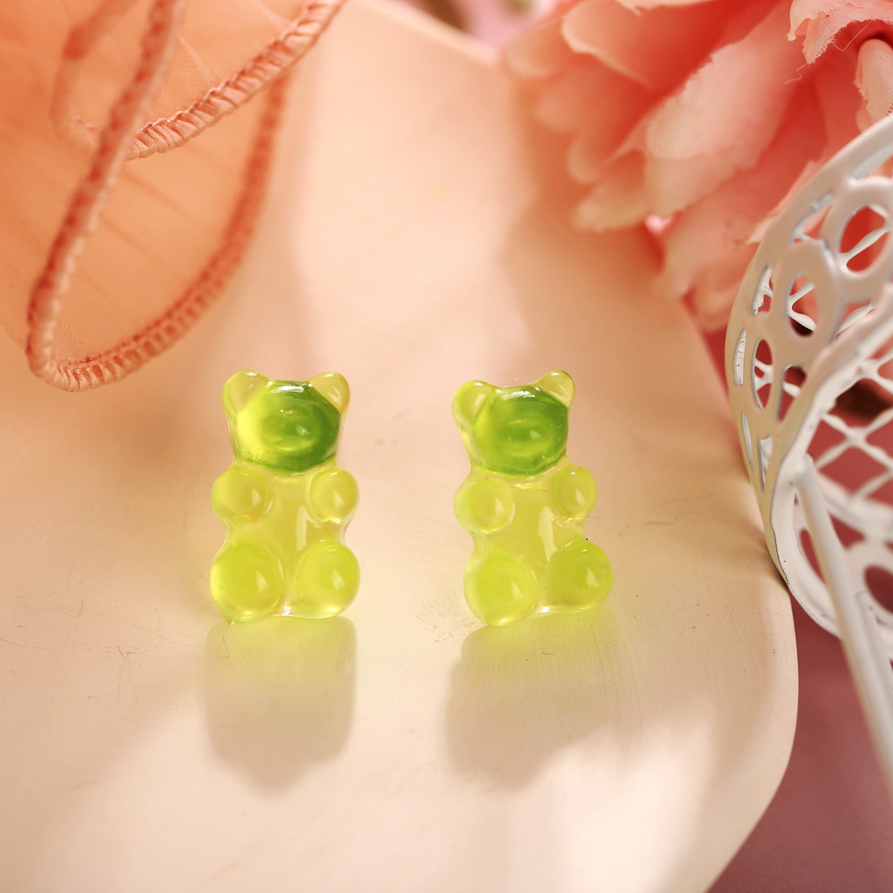 New jelly bear candy color earrings creative retro simple solid color earrings for women wholesale NHPJ208918