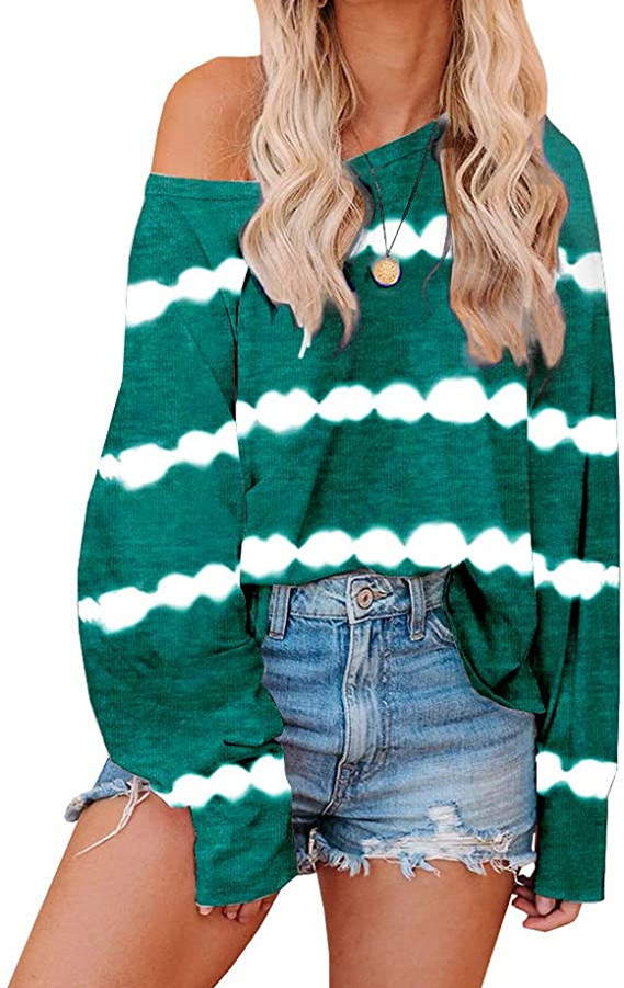 autumn new tie-dye stripe printing loose long-sleeved round neck long-sleeved sweater  NSYF830
