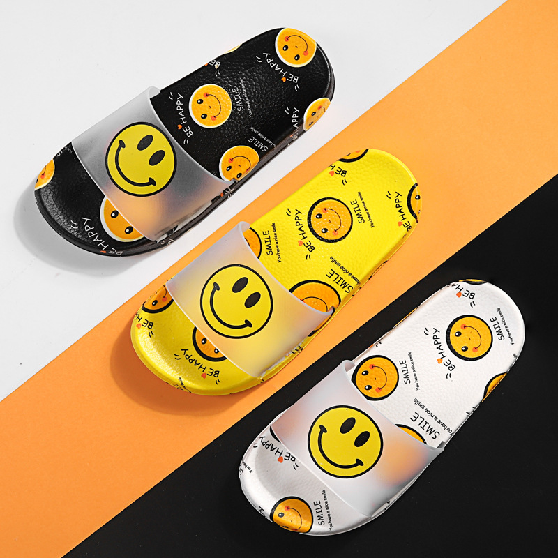 Children's Home Slippers Summer Boys And Girls Indoor Non-slip Soft Bottom Cartoon Smiley Cute Kids Baby Sandals And Slippers