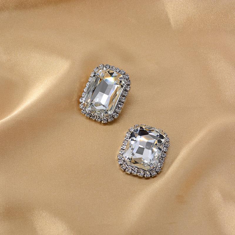 New fashion diamond rhinestone rhinestone rectangular gem earrings wholesale NHNT205139
