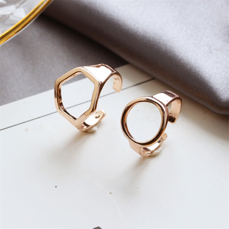 Fashion rings for women Korean hollow five-pointed geometric three-piece ring NHDP202847