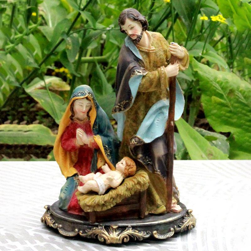 树脂工艺品创意时尚耶稣诞生马槽圣母玛利亚雕像宗教系列家居摆件
