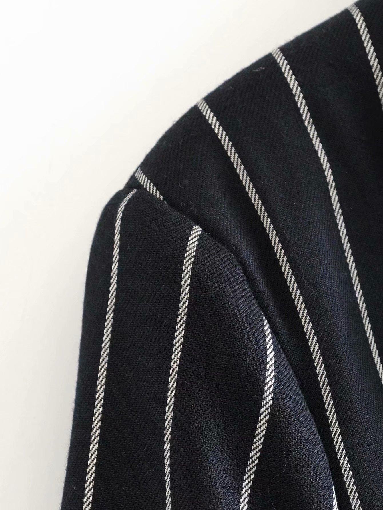 autumn contrast color retro British style striped women's blazer  NSAM2300