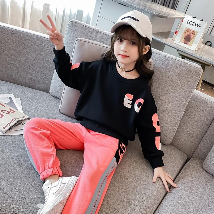 2020新款秋季套装 两件套字母休闲运动 女孩卫衣韩版洋气时尚秋装