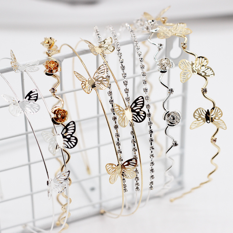New fashion headband simple metal butterfly double-layer ladies headband life wild alloy hair accessories wholesale nihaojewelry NHWJ221513