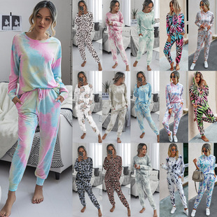 Amazon source 2020 autumn and winter European and American fashion tie-dye printing casual home women's trouser suit
