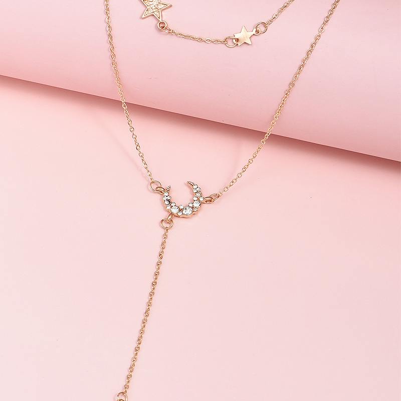 Multilayer diamond star moon pendant women's necklace  NHAJ283588