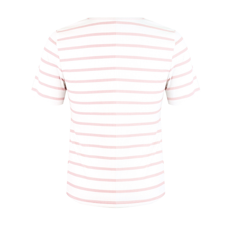 women's knitted striped V-neck T-shirt top NSAL2905