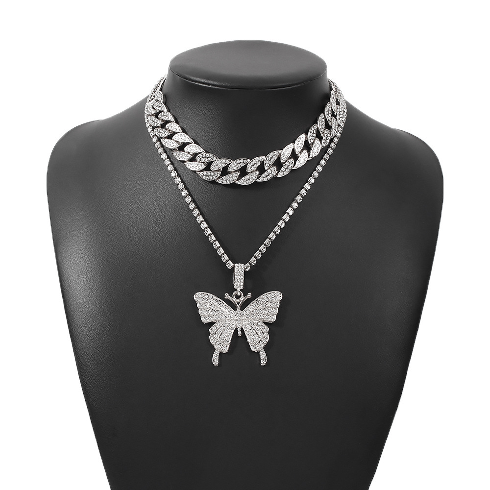 fashion diamond-studded claw chain butterfly necklace NHMD295149