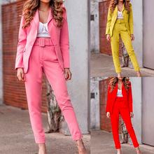 现货 2021秋冬新款跨境欧美女士外套休闲时尚长袖西装套装FD051