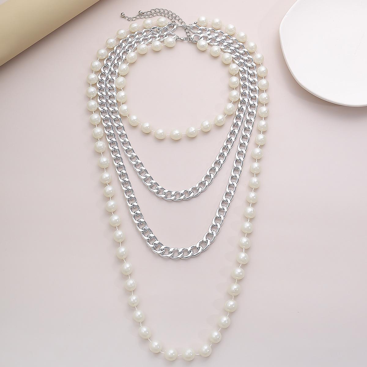 fashion jewelry punk personality fashion chain necklace exaggerated beaded long U-shaped tassel necklace wholesale nihaojewelry NHXR228300