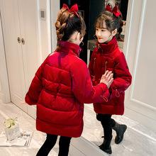 2020冬季新款女童棉衣冬装中大童韩版洋气收腰喜庆红色保暖厚棉袄
