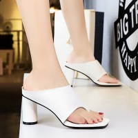 1255-1 European, American and British style high heels, rough heels, open toed, square head women's slippers, simple women's sandals in summer