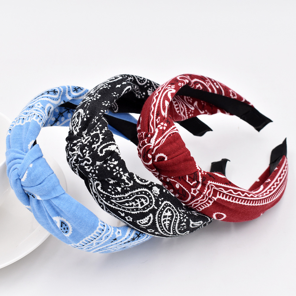 New Knitted Retro Baroque Cashew Flower Headband Ethnic style Cross Headband Hair Accessories NHCL247370