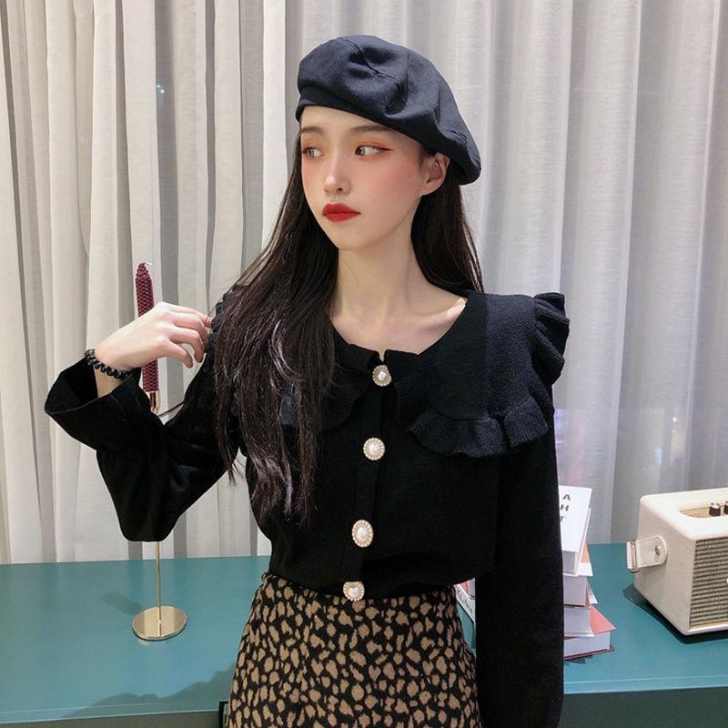 韩版秋冬百搭洋气网红针织开衫娃娃领长袖上衣打底衫